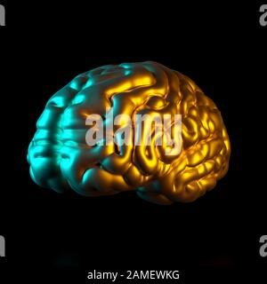 gold colored human brain, 3d rendered image. concept of medicine and creativity and intelligence. - Stock Photo