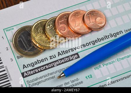 Anlage AV, Altersvorsorgebeiträge, Formular, Steuererklärung - Stock Photo