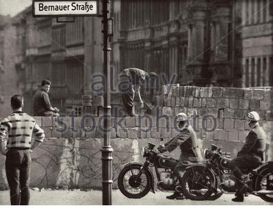 The construction of the Berlin wall. East Berlin. GDR. August 13, 1961. Stock Photo