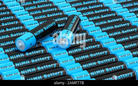 Rows of generic AA batteries with the label 'NiMH Battery' - 3D Rendering - Stock Photo