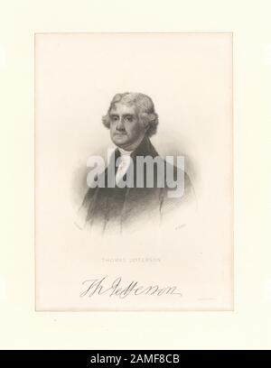 Thomas Jefferson  Printmakers include Henry Bryan Hall, George R. Hall, Alexander Hay Ritchie and James Barton Longacre. Title from Calendar of the Emmet Collection. EM8634 Statement of responsibility : H.B. Hall; Thomas Jefferson - Stock Photo