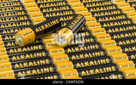 Rows of generic AA batteries with the label 'Alkaline' - 3D Rendering - Stock Photo