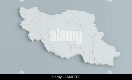 Map of Iran on grey background - 3D Rendering - Stock Photo