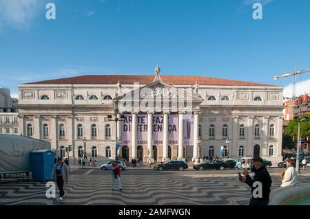 Teatro Nacional de Dona Maria II the National Theatre, Praca Dom Pedro IV, Lisbon, Portugal. - Stock Photo