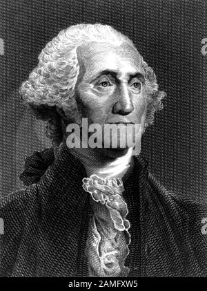 Vintage portrait of George Washington (1732 - 1799) – Commander of the Continental Army in the American Revolutionary War / War of Independence (1775 – 1783) and the first US President (1789 - 1797). Undated print from an engraving by S Topham after a painting by artist Gilbert Stuart (1755 – 1828). - Stock Photo