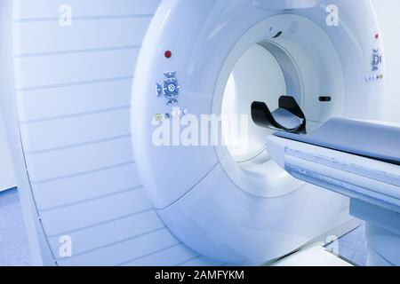 CT (Computed tomography) scanner in hospital laboratory. Health care, medical technology, hi-tech equipment and diagnosis concept with copy space. - Stock Photo
