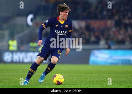 Nicolo' Zaniolo of Roma in action during the Italian championship Serie A football match between AS Roma and Juventus on January 12, 2020 at Stadio Olimpico in Rome, Italy - Photo Federico Proietti/ESPA-Imaes - Stock Photo