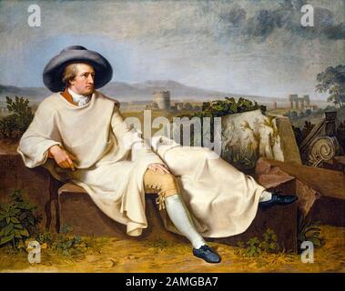 Johann Heinrich Wilhelm Tischbein, Goethe in the Roman Campagna, (Johann Wolfgang von Goethe (1749-1832)), portrait painting, 1787 - Stock Photo