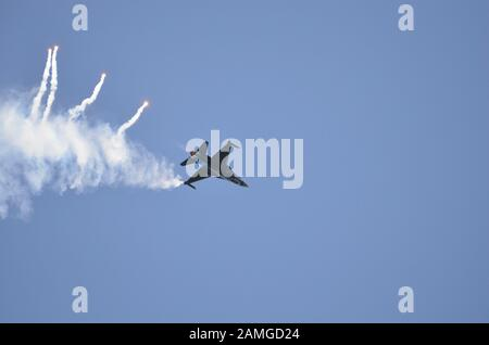 Zeltweg, Austria - July 1st 2011: Display with F16 Falcon fighter jet of the Belgium aircraft by airshow - airpower11 - in Zeltweg