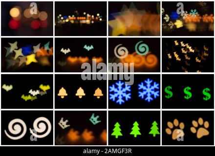 Set of blurred photo of defocused bokeh colorful lights in the different shapes. Full size. - Stock Photo