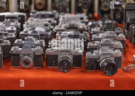 Arnhem, Netherlands, January 2020: Collection of old vintage photo camera's from Soligar, Contaflax and Miranda