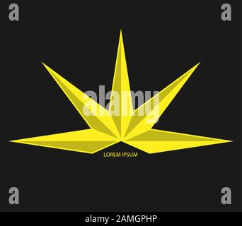 Abstract five-pointed star for logo, trademark emblem or sticker. Isolated on a black background. - Stock Photo