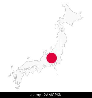 A Japan map on white background with clipping path - Stock Photo