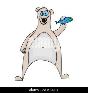 Cartoon polar bear isolated on white background. Funny polar bear with fish. Zoo logo or icon, ad, kids book illustration, print, shirt. Flat vector - Stock Photo