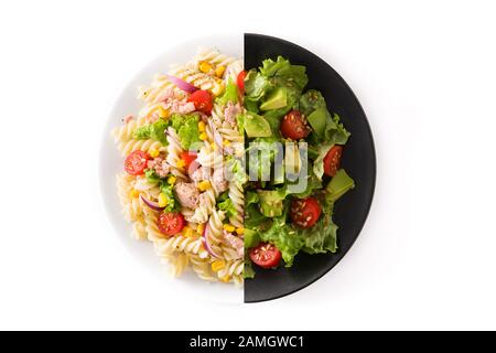 Pasta salad and avocado salad montage isolated on white background - Stock Photo