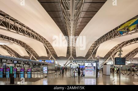 Kansai Airport. Built on an artificial island in the middle of Osaka Bay off the Honshu shore. - Stock Photo