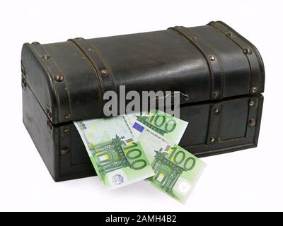 Treasure chest with hundred euro banknotes isolated on white background - Stock Photo