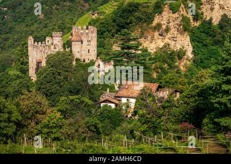 Fountain castle in Tirol, South Tyrol. Italy - Stock Photo