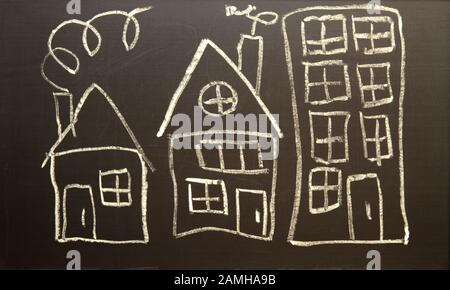 Children's drawing houses - Stock Photo