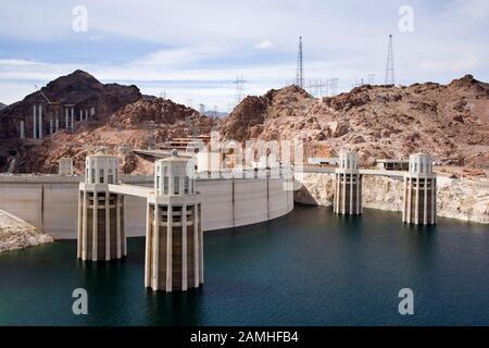 Hoover Dam at Arizona/ Nevada, USA - Stock Photo