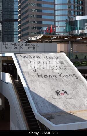 Hong Kong protest 2019; graffiti on Hong Kong Island as a result of the Hong Kong protests and civil disruption, Hong Kong Asia - Stock Photo