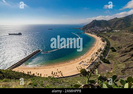 Beautiful white sand Las Teresitas beach near Santa Cruz de Tenerife seen from one of the viewpoints above.