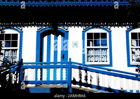 Blue house, Pirinópolis, Goiás, Brazil - Stock Photo