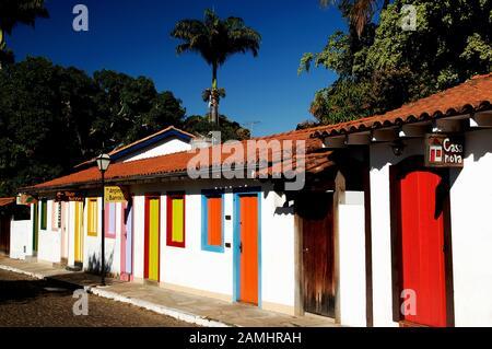 Colored houses, Pirinópolis, Goiás, Brazil - Stock Photo
