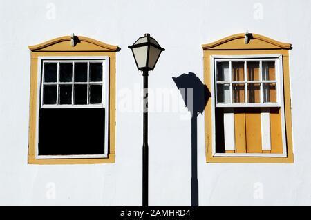 Windows, Lamp, Pirinópolis, Goiás, Brazil - Stock Photo