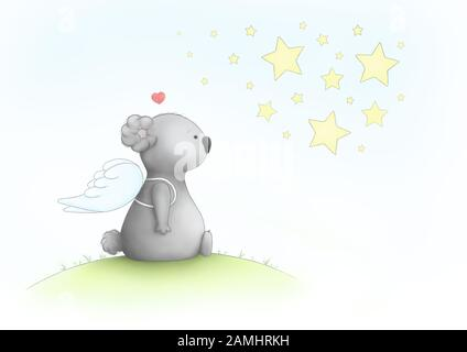 cute hand drawn sad koala bear drawing, sitting wearing angel wings, looking at stars, missing loved ones, on white background - Stock Photo