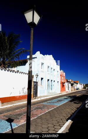 Lamp, Houses, Direita Street, Pirinópolis, Goiás, Brazil - Stock Photo