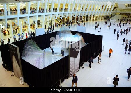 Sennheiser soundscape display and visitors at the Oculus in New York City - Stock Photo