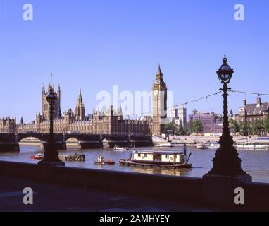 The Palace of Westminster (Houses of Parliament) across River Thames, City of Westminster, Greater London, England, United Kingdom - Stock Photo