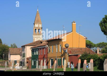 The Bell Tower of the Chiesa di San Michele Arcangelo di Mazzorbo - Stock Photo