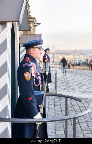 Prague Castle Guards (Hradní stráž) outside the Old Royal Palace, Prague, Czech Republic - Stock Photo