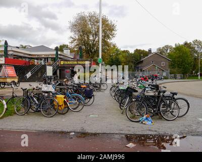 A bike park in Amsterdam, Netherlands