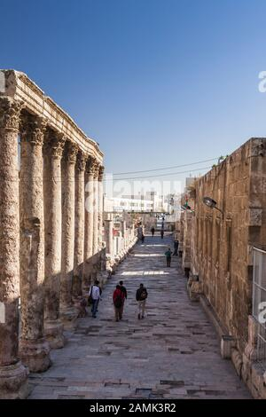Colonnade, near Roman Theater of amman, at downtown, capital, amman city, Jordan, middle east, Asia - Stock Photo