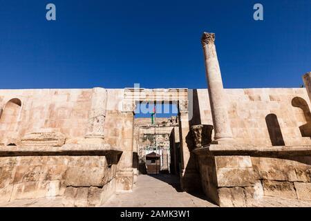 Ancient wall near Roman Theater of amman, at downtown, capital, amman city, Jordan, middle east, Asia - Stock Photo