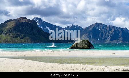 Haukland Beach in Lofoten Archipelago durring summer