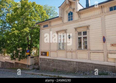 Old wooden houses of Hämeenlinna Finland - Stock Photo