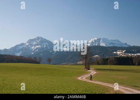 Mountainbiker in early spring on tour in the village of Anger with the Hochstaufen and Zwiesel in the background [automated translation] - Stock Photo