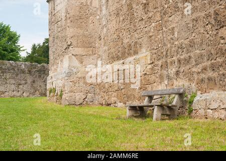 Tittmoning castle - walls with bench [automated translation] - Stock Photo