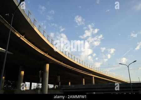 The motorway bridge of the Nuremberg A9 motorway in the Munich district of Freimann. [automated translation] - Stock Photo