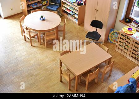 Topic: With a taster weekend in the House for Children on Preysingstrasse in Haidhausen, the city of Munich wants to win over educators for its daycare centres. The picture shows a view of the interior. [automated translation] - Stock Photo