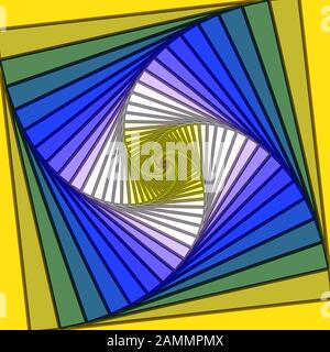 Yellow and Blue Psychedelic Lined Spiral Vortex - Stock Photo