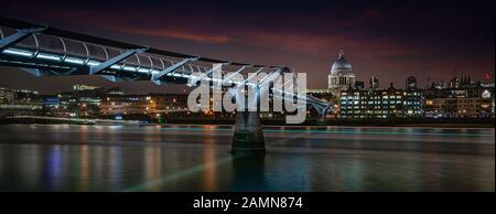 The Millennium Bridge Footbridge, Bankside, London, United Kingdom