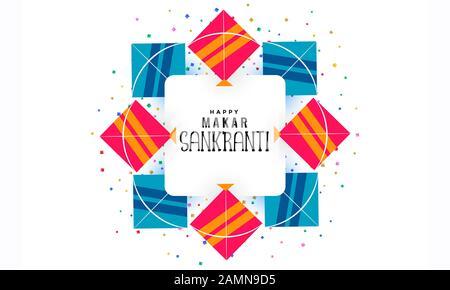 Kite Banner Illustration.Happy Makar Sankranti Invitation Card. Indian Festival.Artistic Calligraphy.Creative Illustration of Kite with String.Vector. - Stock Photo