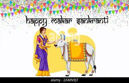 Happy Makar Sankranti Calligraphy.Mangal Kalash(Hinduism Holy Pot) Illustration.Indian Harvest Festival.Hindu Woman In Saree (Traditional Attire).Kite. - Stock Photo