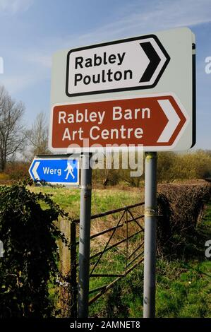Road sign at a junction on the Mildenhall road near Marlborough, Wiltshire. - Stock Photo