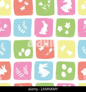 Cute hand drawn easter seamless pattern, colorful spring background with bunnies, easter eggs, flowers, butterflies - great for textiles, banners, wal - Stock Photo
